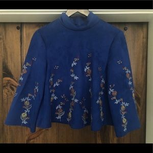 Zara Suede Blue Top with embroidered flower